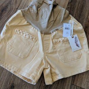 Jessica Simpson maternity yellow denim shorts